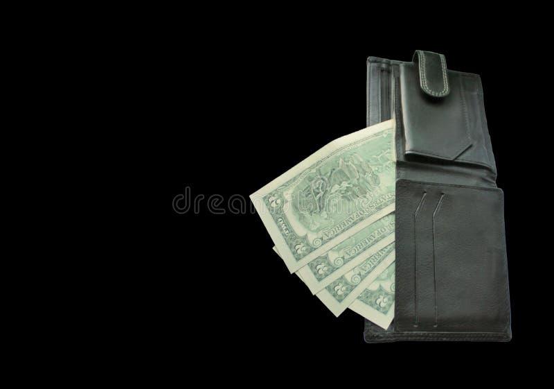 Μαύρο πορτοφόλι με τα τραπεζογραμμάτια δύο δολάρια στοκ φωτογραφίες