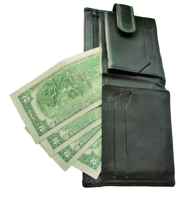 Μαύρο πορτοφόλι με τα τραπεζογραμμάτια δύο δολάρια στοκ φωτογραφία με δικαίωμα ελεύθερης χρήσης