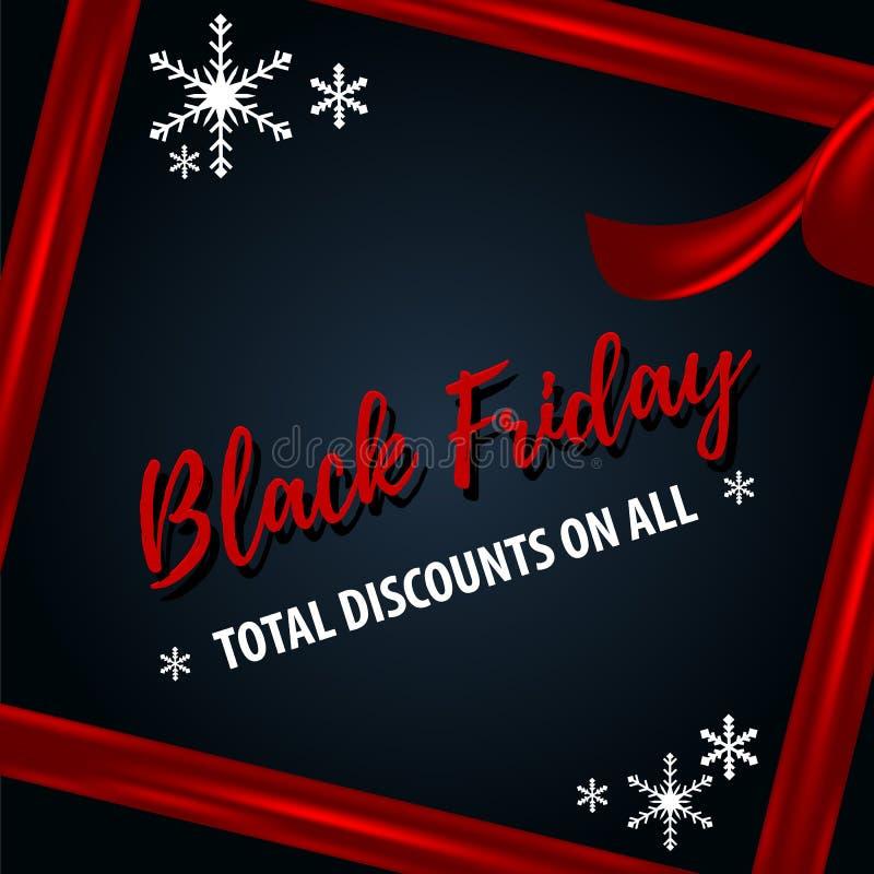 Μαύρο πρότυπο πώλησης Χριστουγέννων Παρασκευής απεικόνιση αποθεμάτων
