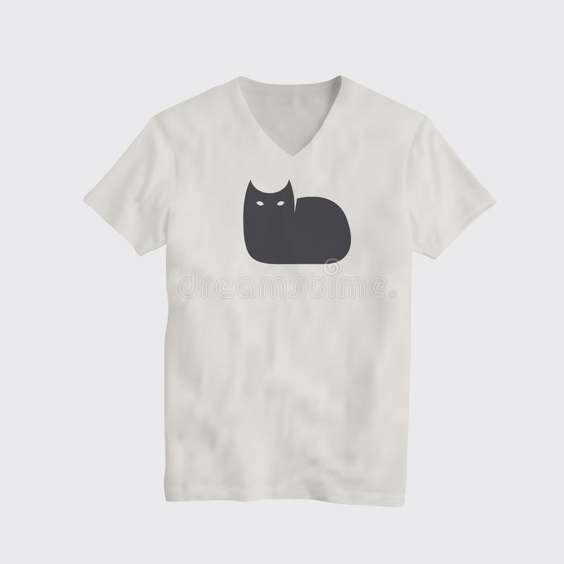 Μαύρο πρότυπο σχεδίου μπλουζών λογότυπων γατών διασκέδασης επίσης corel σύρετε το διάνυσμα απεικόνισης διανυσματική απεικόνιση