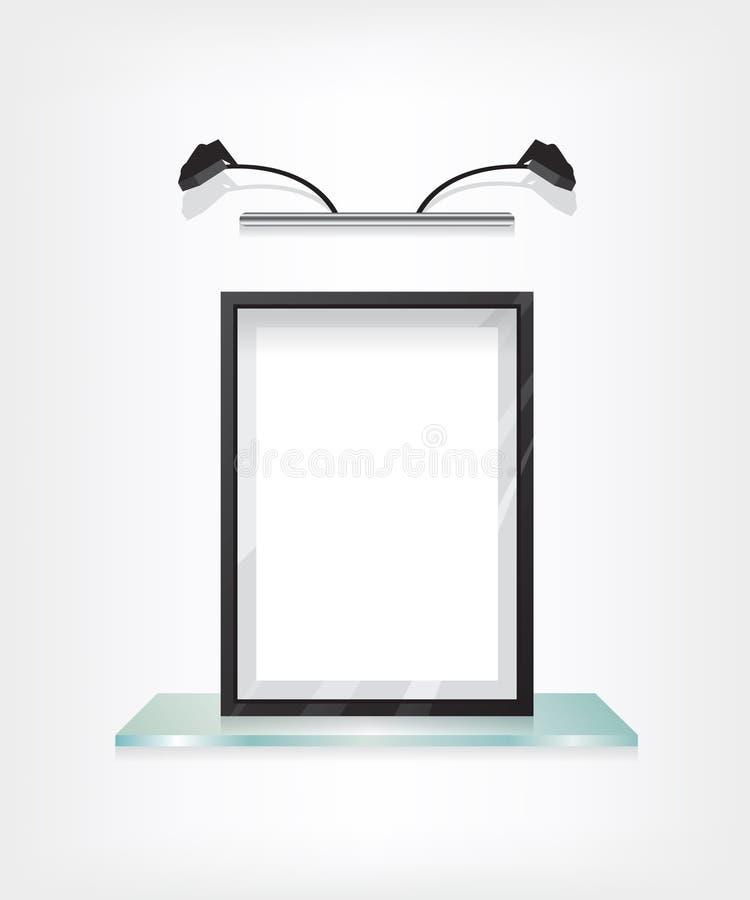 Μαύρο πλαίσιο στο ράφι γυαλιού ελεύθερη απεικόνιση δικαιώματος