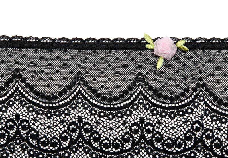μαύρο σατέν δαντελλών λουλουδιών στοκ εικόνα με δικαίωμα ελεύθερης χρήσης