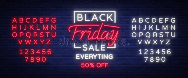 Μαύρο σημάδι νέου πώλησης Παρασκευής, έμβλημα νέου, φυλλάδιο υποβάθρου Καμμένος σημάδι νέου, φωτεινή διαφήμιση πυράκτωσης, πωλήσε διανυσματική απεικόνιση