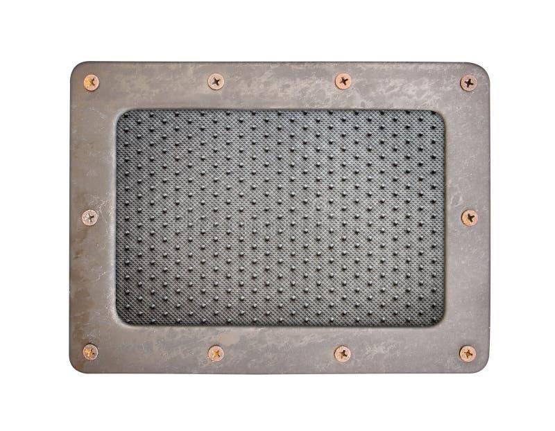 Μαύρο σημείων πιάτο υποβάθρου PVC πλαστικό με το πλαίσιο χάλυβα στοκ εικόνες με δικαίωμα ελεύθερης χρήσης