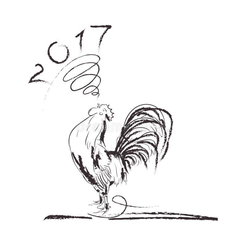 Μαύρο σκίτσο τέχνης γραμμών κοκκόρων του κόκκορα ελεύθερη απεικόνιση δικαιώματος