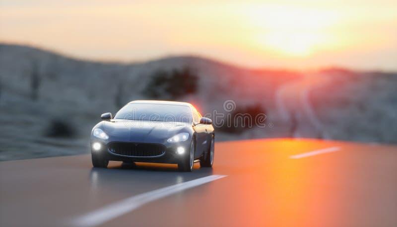 Μαύρο σπορ αυτοκίνητο στο δρόμο, εθνική οδός Πολύ γρήγορα οδηγώντας τρισδιάστατη απόδοση απεικόνιση αποθεμάτων