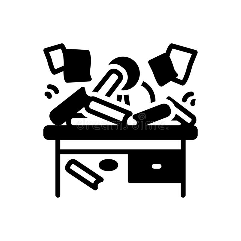 Μαύρο στερεό εικονίδιο για αποδιοργανωμένος, τυχαίος και αποσπασματικός απεικόνιση αποθεμάτων