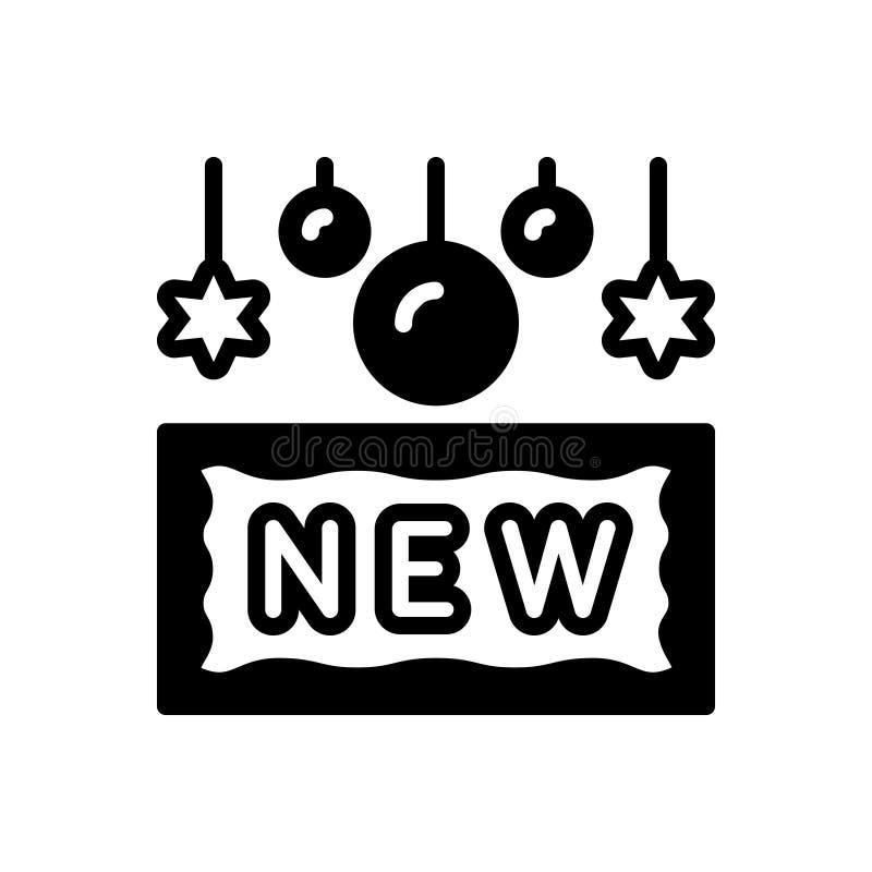 Μαύρο στερεό εικονίδιο για νέος, πρόσφατος και ο πιό πρόσφατος απεικόνιση αποθεμάτων