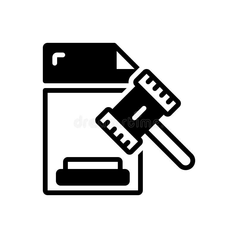 Μαύρο στερεό εικονίδιο για νομικός, νόμιμος και νόμιμος απεικόνιση αποθεμάτων
