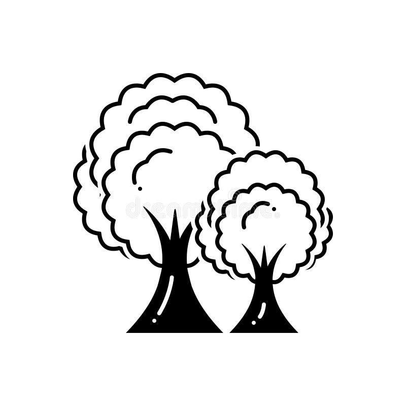 Μαύρο στερεό εικονίδιο για τα δέντρα, τις εγκαταστάσεις και τη φύση διανυσματική απεικόνιση