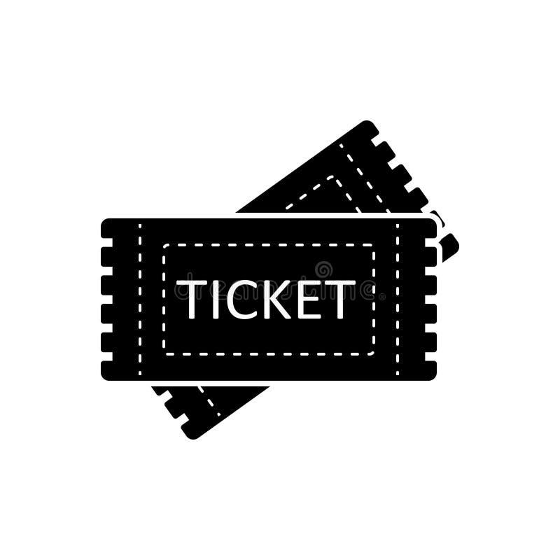 Μαύρο στερεό εικονίδιο για τα εισιτήρια, το δελτίο και την απόδειξη ελεύθερη απεικόνιση δικαιώματος