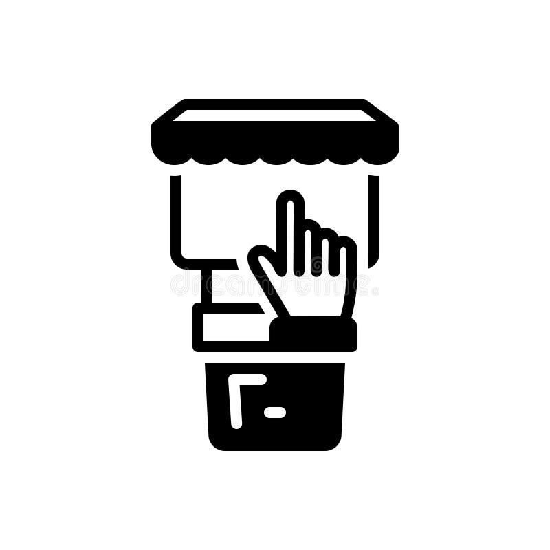 Μαύρο στερεό εικονίδιο για τα περίπτερα, τη στάση και την οθόνη απεικόνιση αποθεμάτων