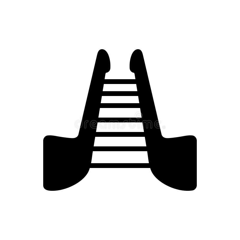Μαύρο στερεό εικονίδιο για τα σκαλοπάτια, stepladder και τη σκάλα ελεύθερη απεικόνιση δικαιώματος