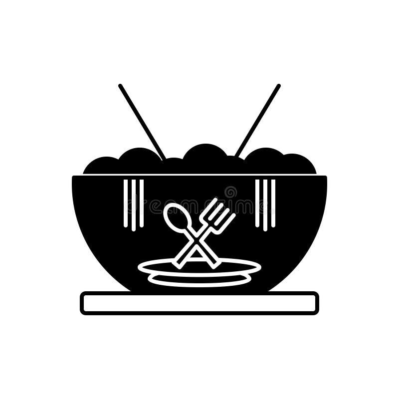 Μαύρο στερεό εικονίδιο για τα τρόφιμα, γεύμα και φαγώσιμος διανυσματική απεικόνιση