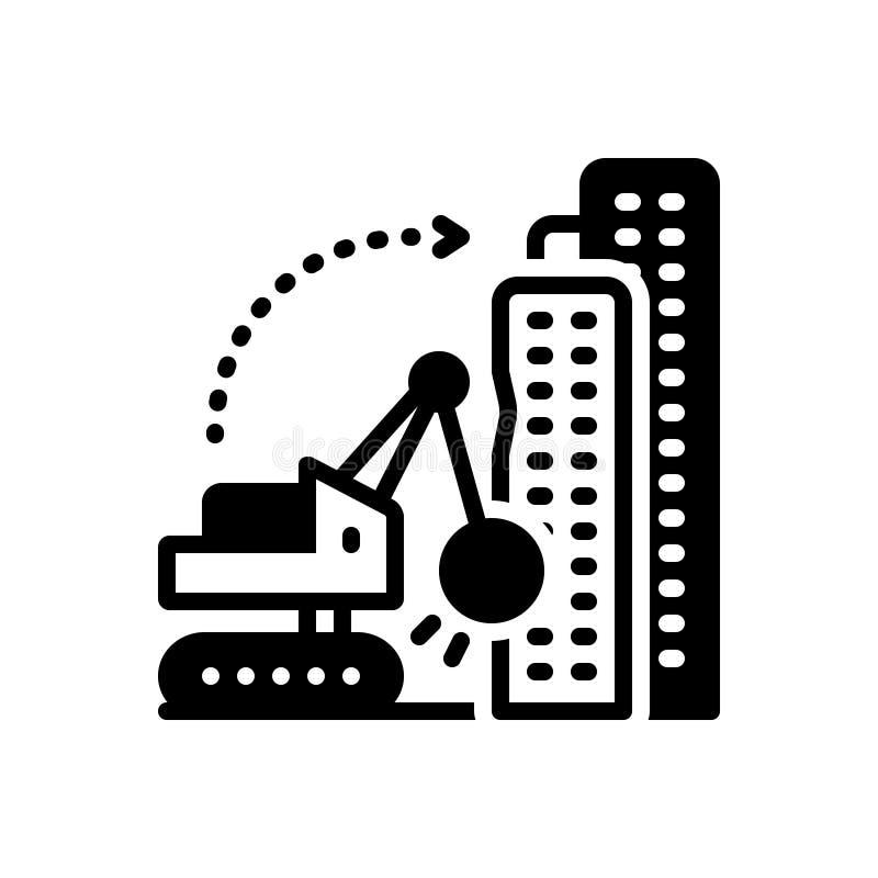 Μαύρο στερεό εικονίδιο για την αποσυναρμολόγηση, την οικοδόμηση και την κατεδάφιση ελεύθερη απεικόνιση δικαιώματος