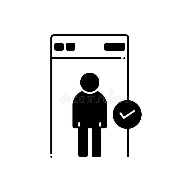 Μαύρο στερεό εικονίδιο για την ασφάλεια, τον έλεγχο και την προστασία διανυσματική απεικόνιση