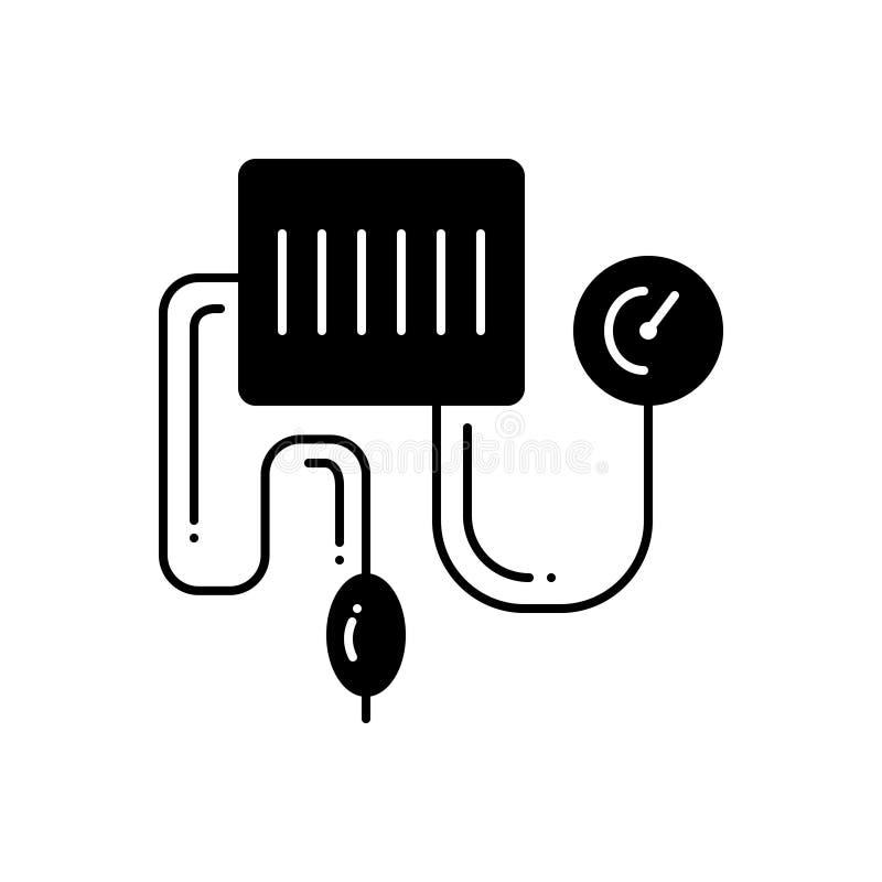 Μαύρο στερεό εικονίδιο για την εξάρτηση πίεσης του αίματος, έλεγχος και ιατρικός απεικόνιση αποθεμάτων