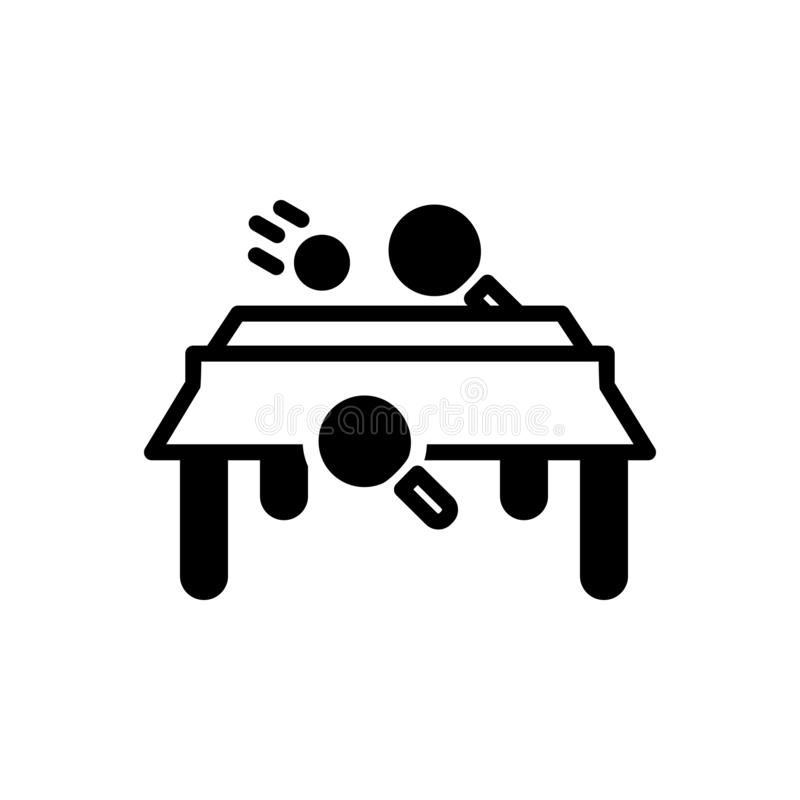 Μαύρο στερεό εικονίδιο για την επιτραπέζια αντισφαίριση, το παιχνίδι και το μεταλλικό θόρυβο ελεύθερη απεικόνιση δικαιώματος