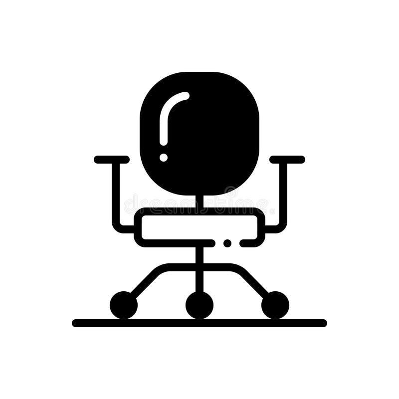 Μαύρο στερεό εικονίδιο για την επιχειρησιακή καρέκλα, έπιπλα και άνετος ελεύθερη απεικόνιση δικαιώματος