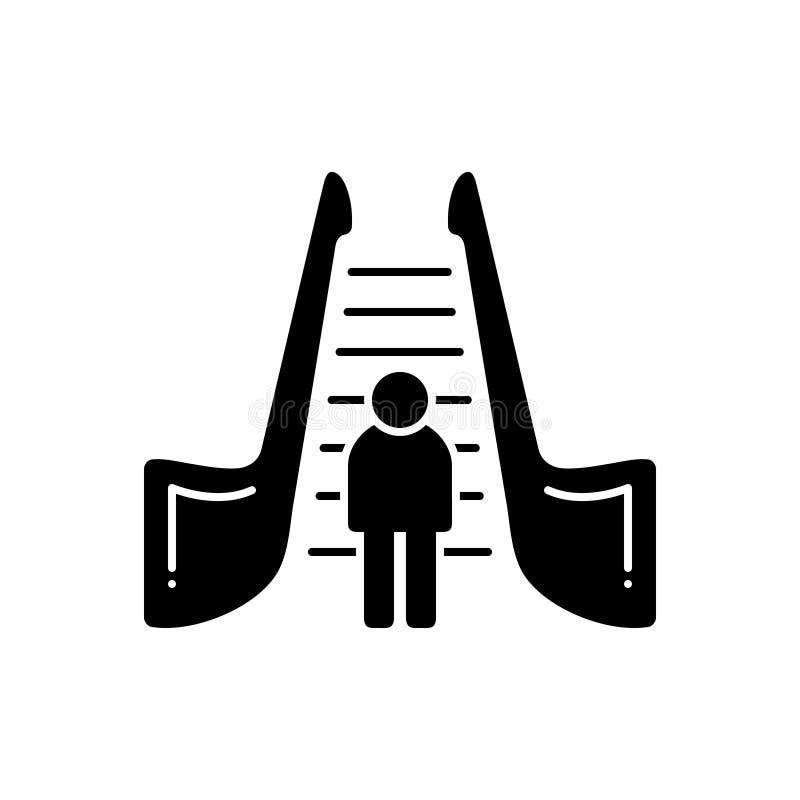 Μαύρο στερεό εικονίδιο για την κυλιόμενη σκάλα, την κίνηση και τη σκάλα διανυσματική απεικόνιση