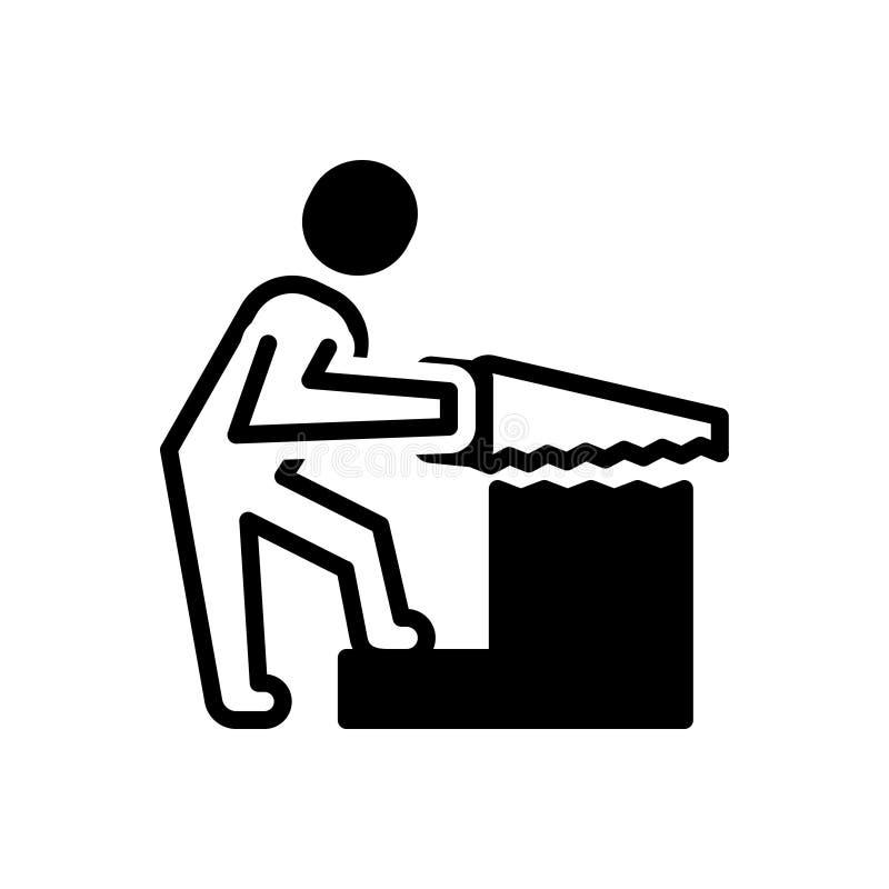 Μαύρο στερεό εικονίδιο για την ξυλουργική, την εργασία και τον οικοδόμο απεικόνιση αποθεμάτων