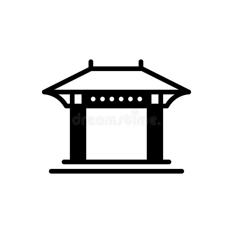 Μαύρο στερεό εικονίδιο για την πέργκολα, κατώφλι και άνετος απεικόνιση αποθεμάτων
