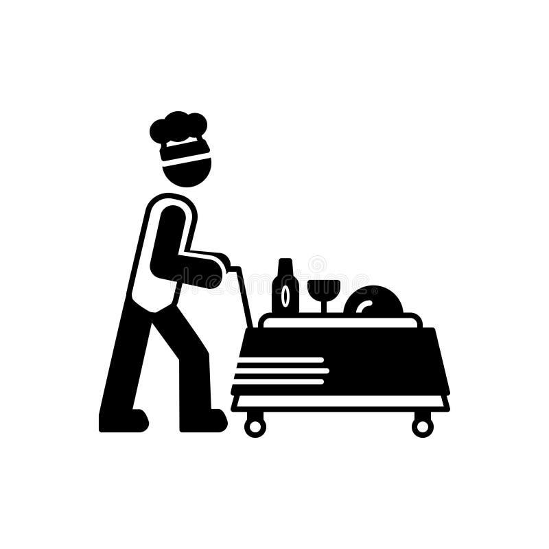 Μαύρο στερεό εικονίδιο για την υπηρεσία τροφίμων, το εστιατόριο και τους εργαζομένους διανυσματική απεικόνιση