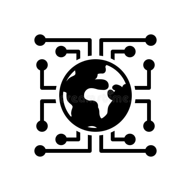 Μαύρο στερεό εικονίδιο για την ψηφιακή αναλογική μεταλλαγή, τεχνολογία και cyber διανυσματική απεικόνιση