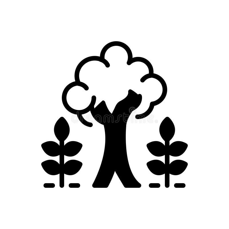 Μαύρο στερεό εικονίδιο για την ωριμότητα, το δέντρο και τις εγκαταστάσεις διανυσματική απεικόνιση