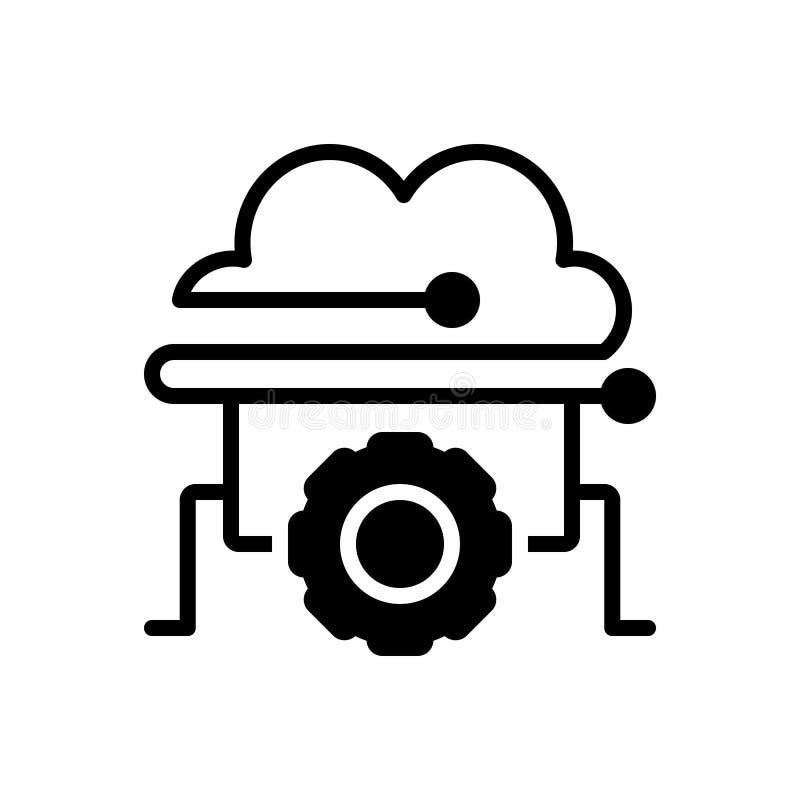Μαύρο στερεό εικονίδιο για τη διαχείριση, την πρόσβαση και τη σύνδεση σύννεφων απεικόνιση αποθεμάτων