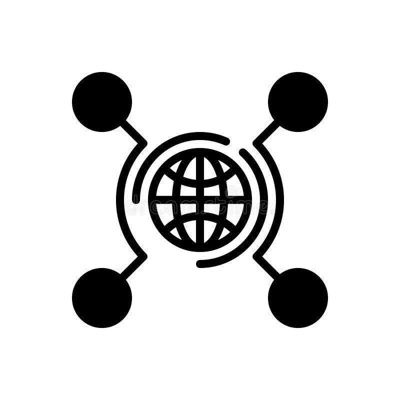 Μαύρο στερεό εικονίδιο για τη δικτύωση, τεχνολογία και ψηφιακός ελεύθερη απεικόνιση δικαιώματος