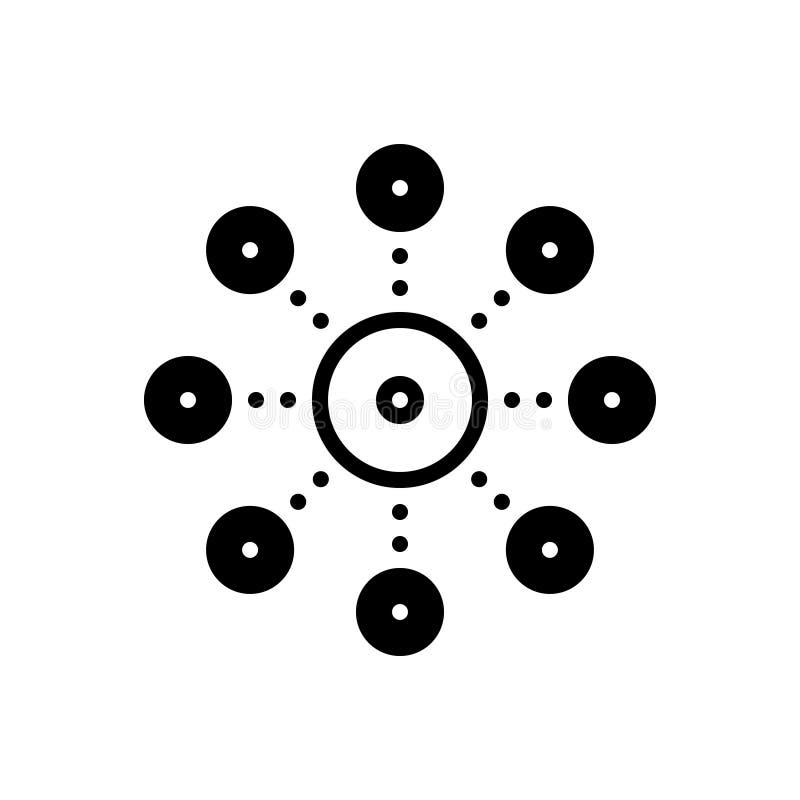 Μαύρο στερεό εικονίδιο για τη διοικητική αποκέντρωση, τον κεντρικό υπολογιστή και το δίκτυο ελεύθερη απεικόνιση δικαιώματος