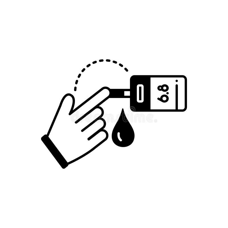 Μαύρο στερεό εικονίδιο για τη δοκιμή, τη μηχανή και την επεξεργασία ζάχαρης αίματος απεικόνιση αποθεμάτων