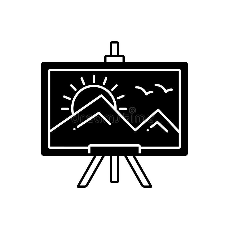 Μαύρο στερεό εικονίδιο για τη ζωγραφική, τον καμβά και το μουσείο απεικόνιση αποθεμάτων