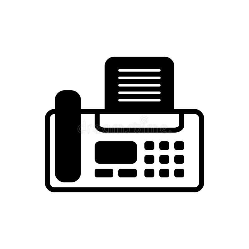 Μαύρο στερεό εικονίδιο για τη μηχανή, επίπεδος και την επαφή fax διανυσματική απεικόνιση