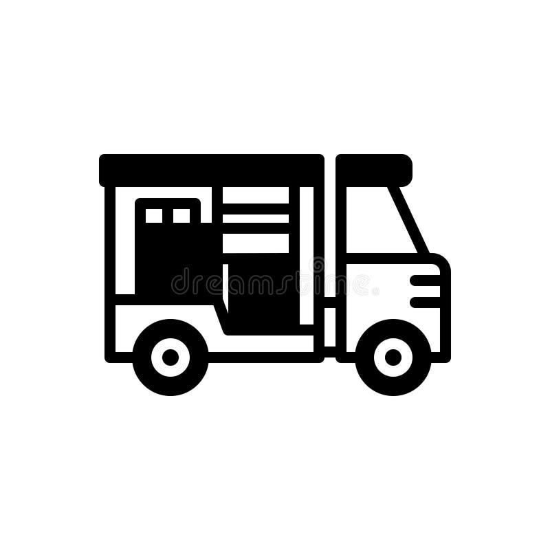 Μαύρο στερεό εικονίδιο για τη ναυτιλία, τη μεταφορά και την παράδοση διανυσματική απεικόνιση