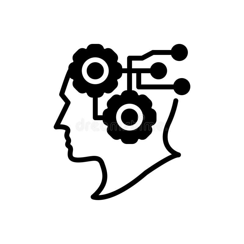 Μαύρο στερεό εικονίδιο για τη νοημοσύνη, το διάνοια και την αίσθηση διανυσματική απεικόνιση