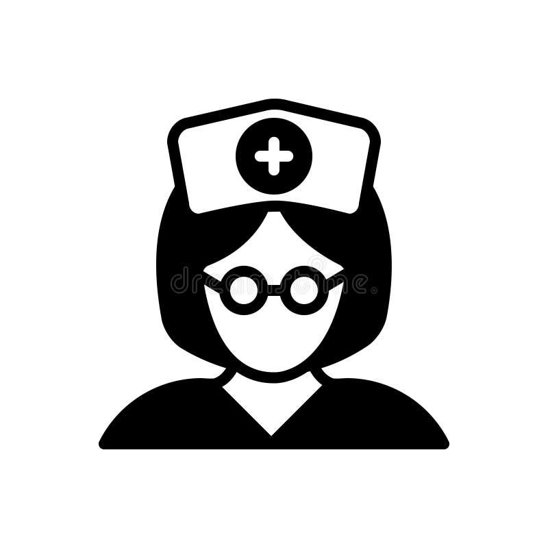 Μαύρο στερεό εικονίδιο για τη νοσοκόμα, την αδελφή και το είδωλο διανυσματική απεικόνιση