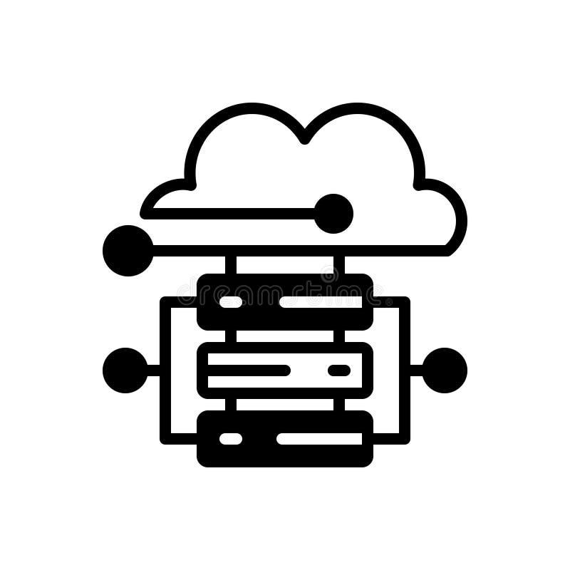 Μαύρο στερεό εικονίδιο για τη φιλοξενία, τον κεντρικό υπολογιστή και τη βάση δεδομένων σύννεφων διανυσματική απεικόνιση