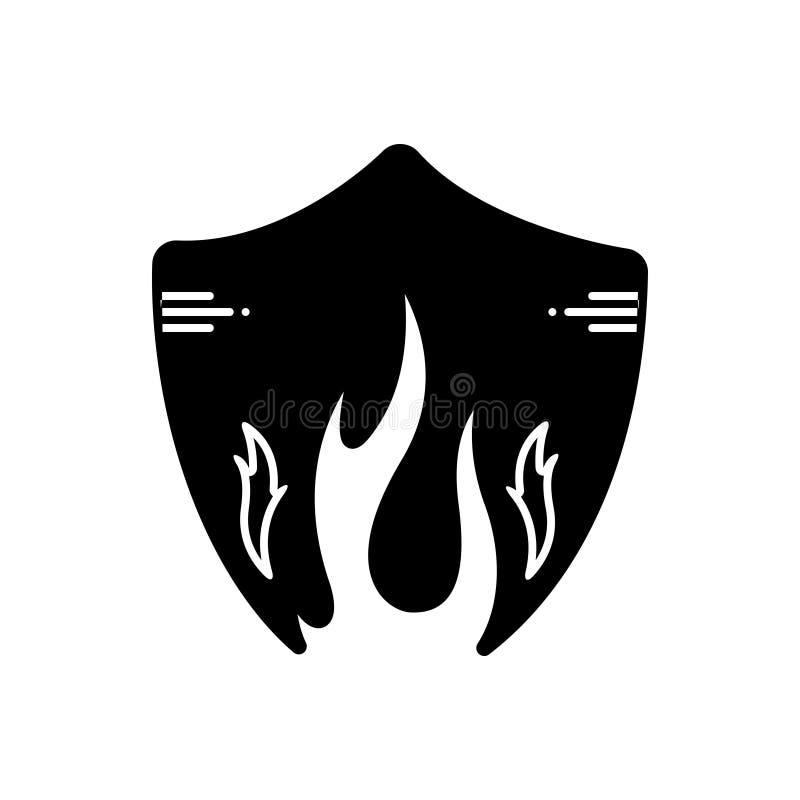 Μαύρο στερεό εικονίδιο για τη φλόγα πυρκαγιάς, φωτιά και επικίνδυνος απεικόνιση αποθεμάτων
