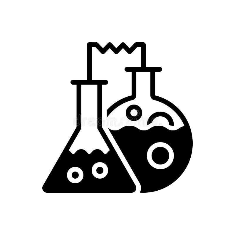 Μαύρο στερεό εικονίδιο για τη χημεία, την παθολογία και το εργαστήριο απεικόνιση αποθεμάτων