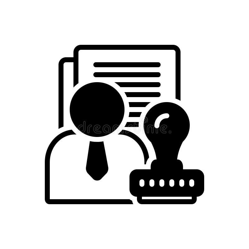 Μαύρο στερεό εικονίδιο για τις αρχές, εγκεκριμένες και τη συμφωνία στοκ εικόνες