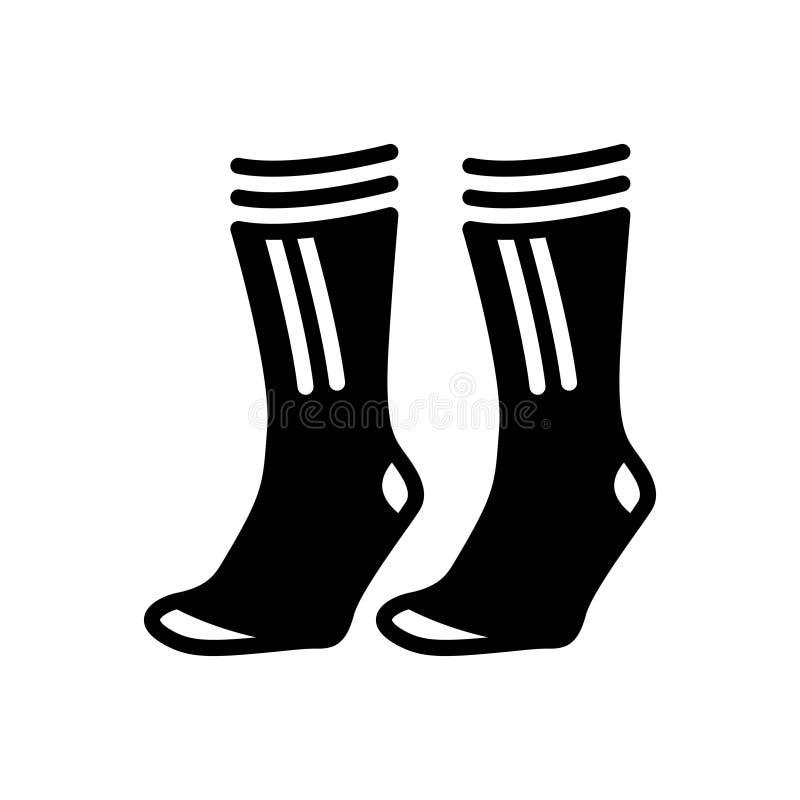 Μαύρο στερεό εικονίδιο για τις κάλτσες, ζευγάρι και άνετος ελεύθερη απεικόνιση δικαιώματος