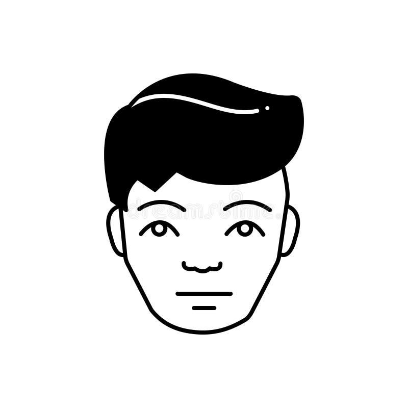 Μαύρο στερεό εικονίδιο για τον άνθρωπο, το πρόσωπο και το μουσείο διανυσματική απεικόνιση