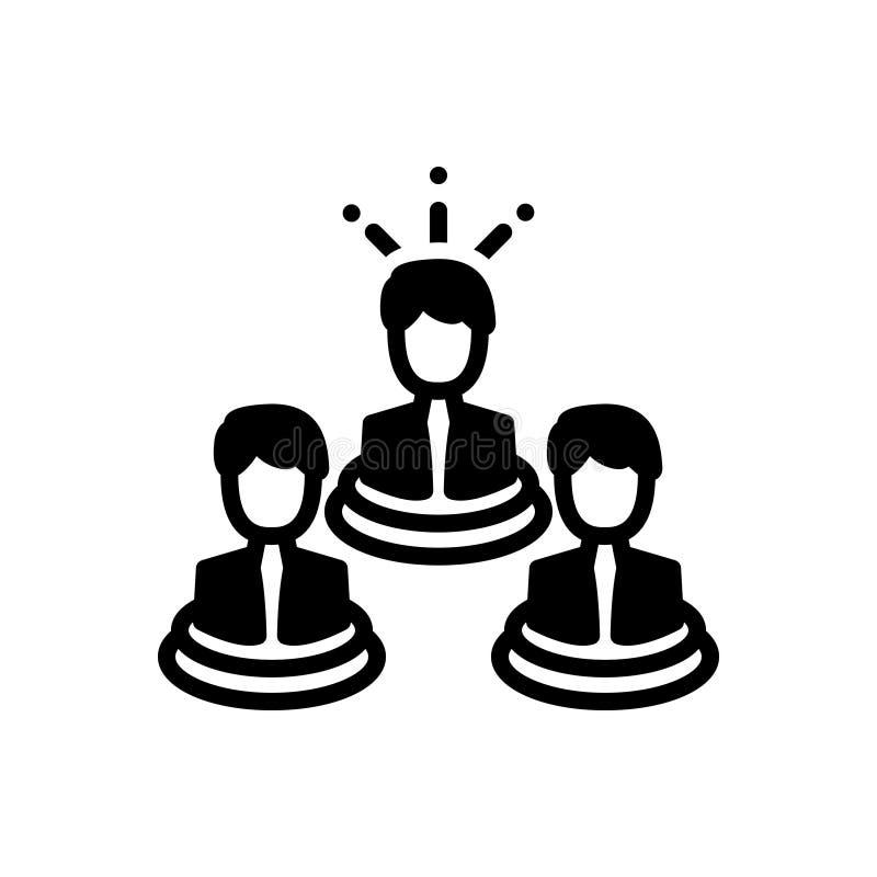Μαύρο στερεό εικονίδιο για τον ηγέτη, τη διαχείριση και τους ανθρώπους απεικόνιση αποθεμάτων