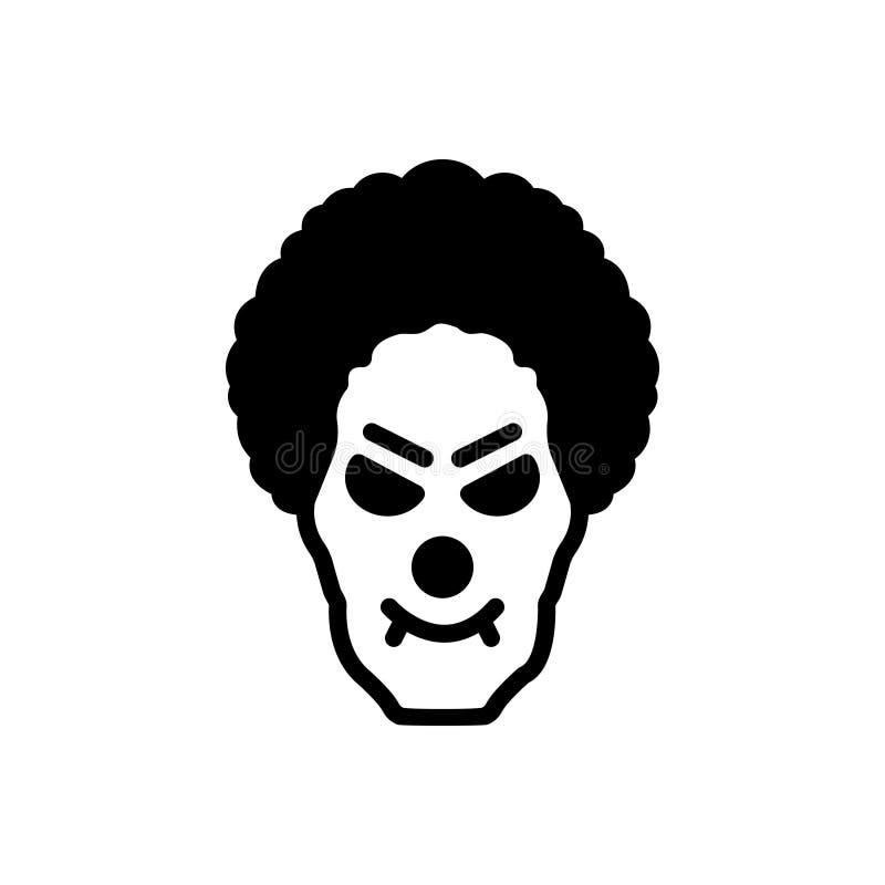 Μαύρο στερεό εικονίδιο για τον κλόουν, το δολοφόνο και το τσίρκο τεράτων απεικόνιση αποθεμάτων