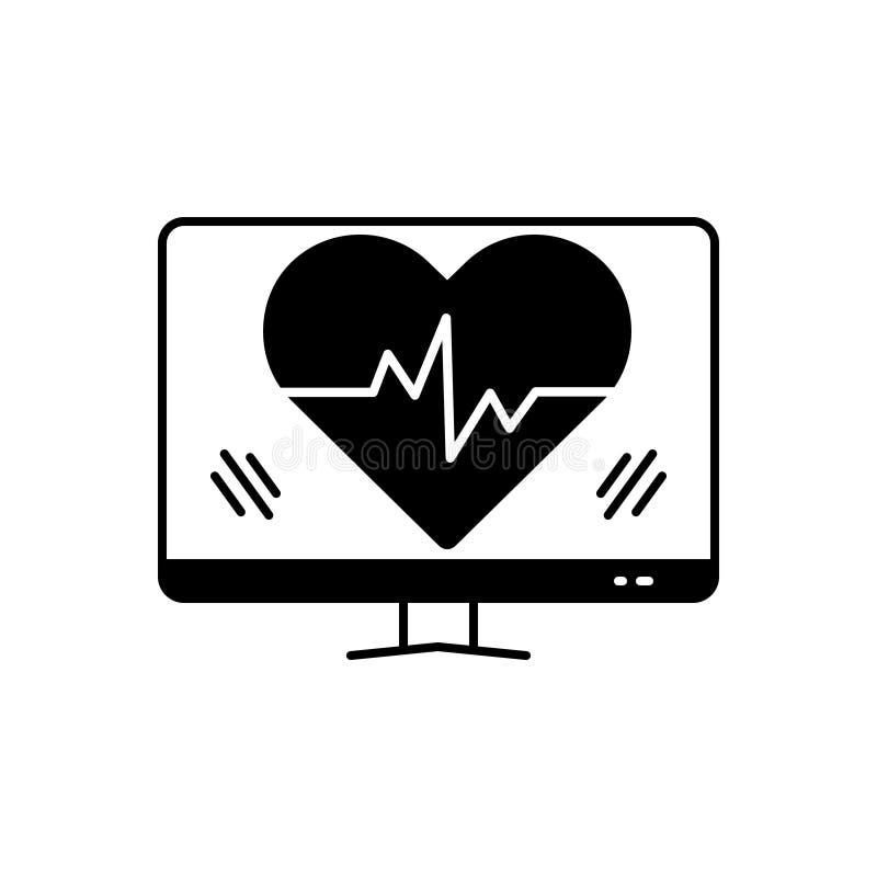 Μαύρο στερεό εικονίδιο για τον κτύπο της καρδιάς, την υγειονομική περίθαλψη και την καρδιά απεικόνιση αποθεμάτων