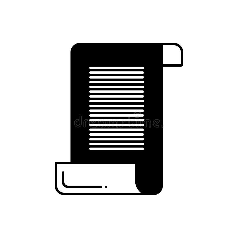 Μαύρο στερεό εικονίδιο για τον κύλινδρο εγγράφου, το έγγραφο και το μουσείο απεικόνιση αποθεμάτων