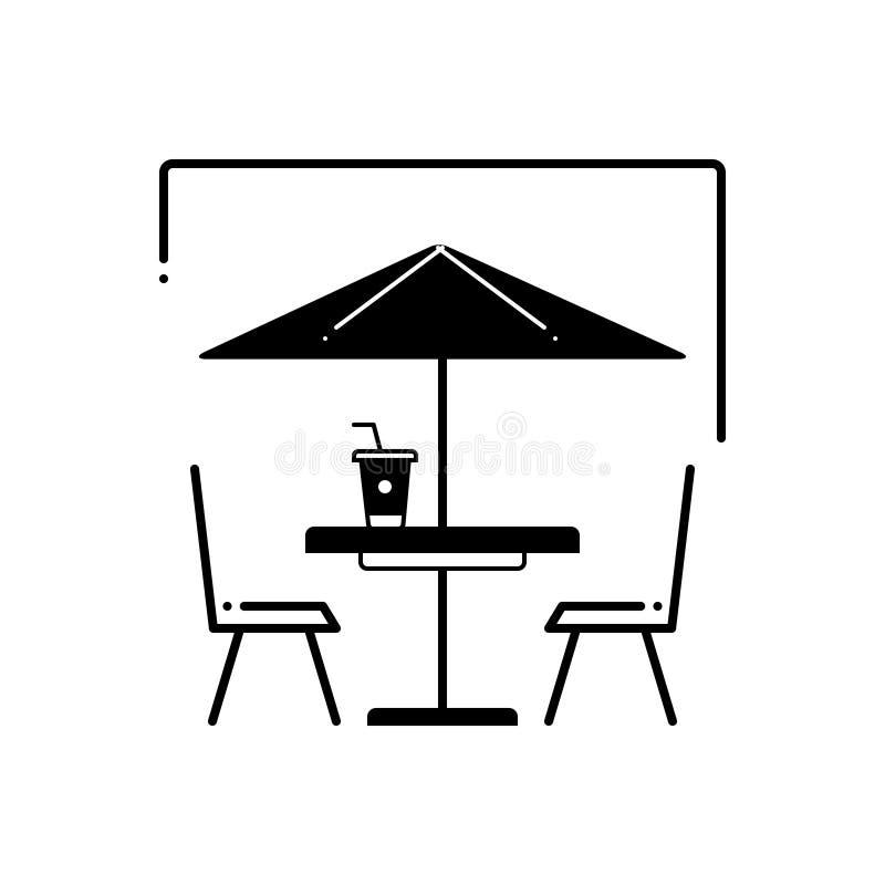 Μαύρο στερεό εικονίδιο για τον υπαίθριους καφέ, την καφετέρια και την οδό διανυσματική απεικόνιση