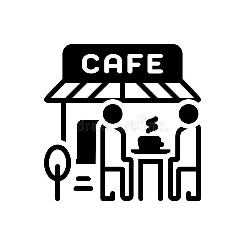 Μαύρο στερεό εικονίδιο για τους καφέδες, την καφετέρια και το κατάστημα απεικόνιση αποθεμάτων